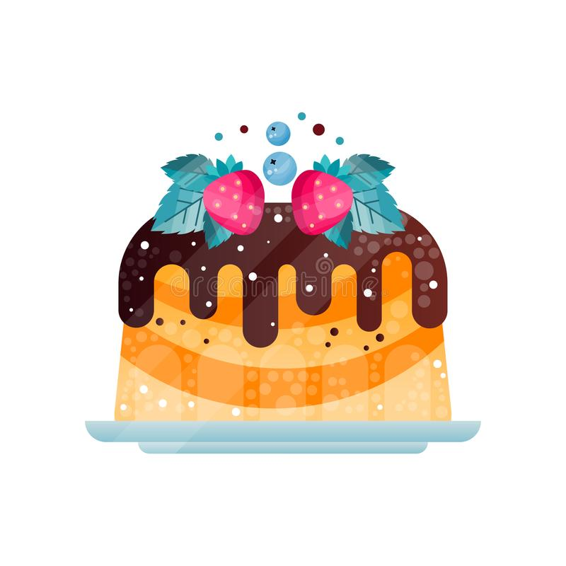 Heerlijke die pastei met chocoladesaus wordt bedekt Cake met aardbeien, bosbessen en bladeren wordt verfraaid dat Vlak vectorpict stock illustratie