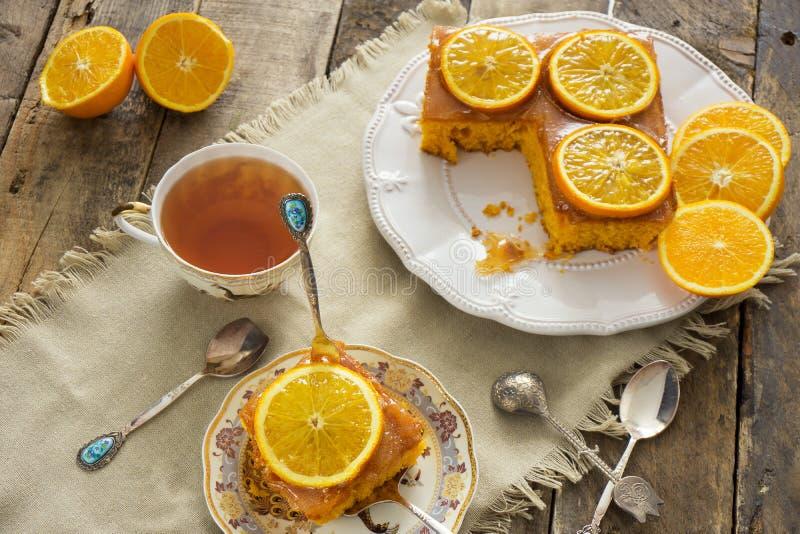 Heerlijke eigengemaakte oranje pastei royalty-vrije stock fotografie