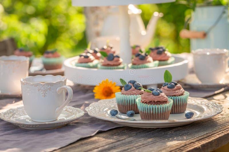 Heerlijke en eigengemaakte bruine cupcake in de zomertuin stock fotografie