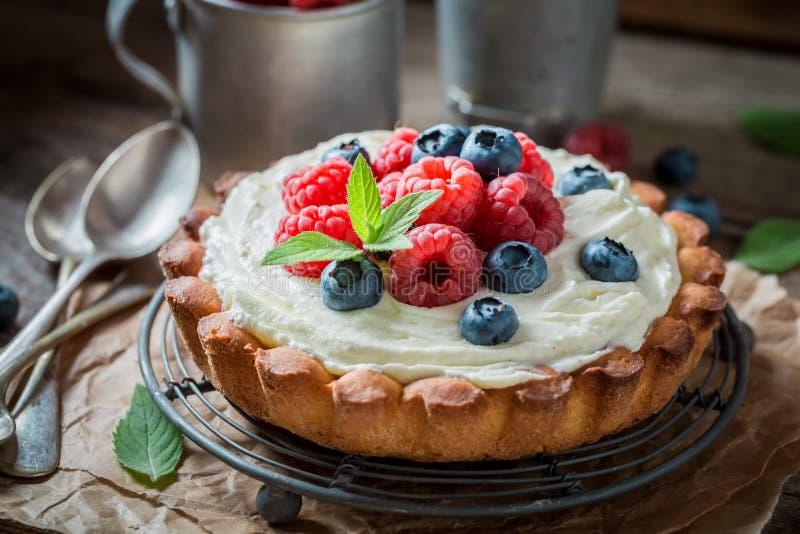 Heerlijke en knapperige scherp met mascarponekaas en fruit stock afbeelding