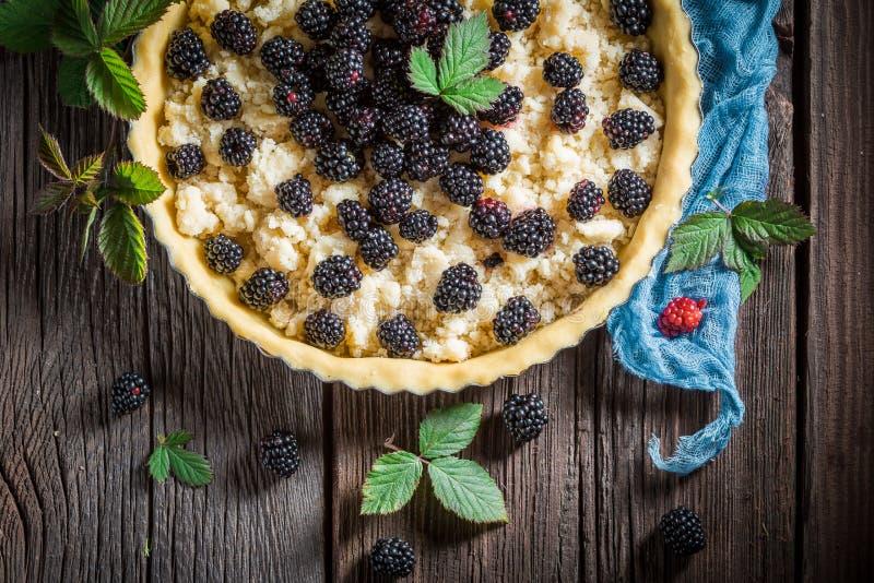 Heerlijke en zoete die scherp met braambessen van verse vruchten worden gemaakt stock foto
