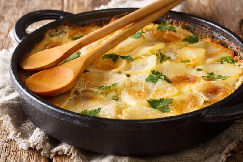 Heerlijke Finse aardappelen in de schil met ansjovisfilets, uien en zwaar roomclose-up in een pan royalty-vrije stock foto's