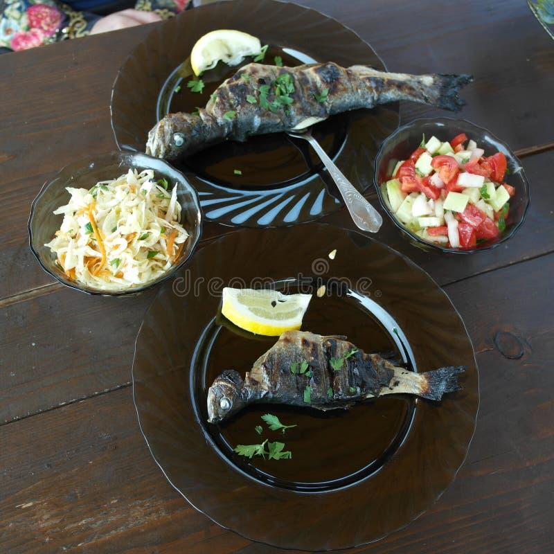 HEERLIJKE forel met salade voor diner na een succesvolle visserij stock foto