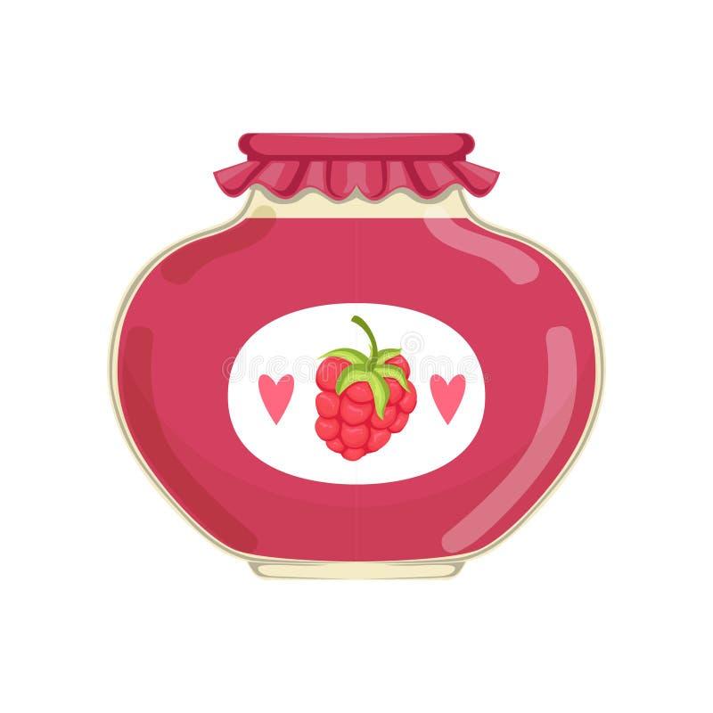 Heerlijke frambozenjam in glaskruik met merketiket Concept biologisch product Bank met ingeblikt fruit Vlakke vector royalty-vrije illustratie