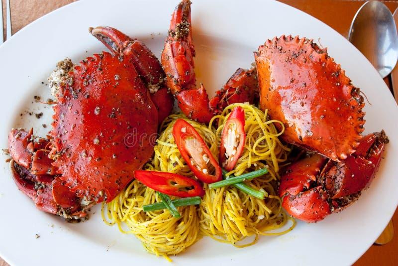 Heerlijke gebakken krabben royalty-vrije stock foto's