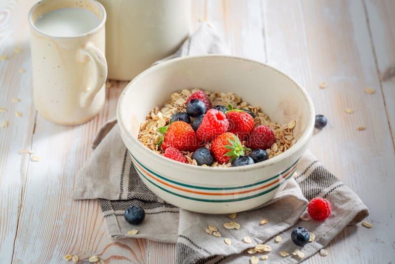 Heerlijke granola met bessen als gezonde maaltijd stock foto