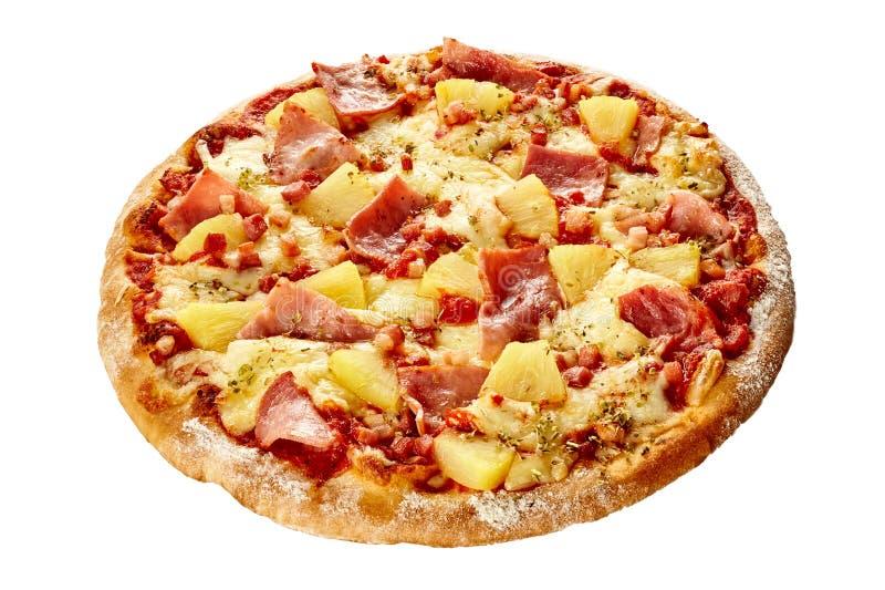 Heerlijke Hawaiiaanse pizza met ham en ananas stock afbeelding