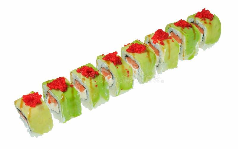 Heerlijke Japanse sushibroodjes met zalm, kaas en rode kaviaar Tobiko Geïsoleerdj op witte achtergrond stock afbeeldingen