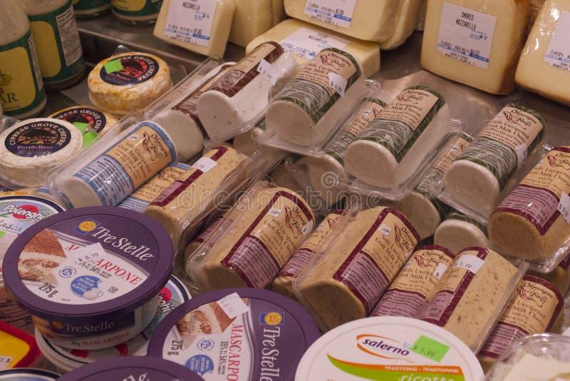 Heerlijke Kaas in het Eilandmarkt van Vancouvers Grandville royalty-vrije stock fotografie