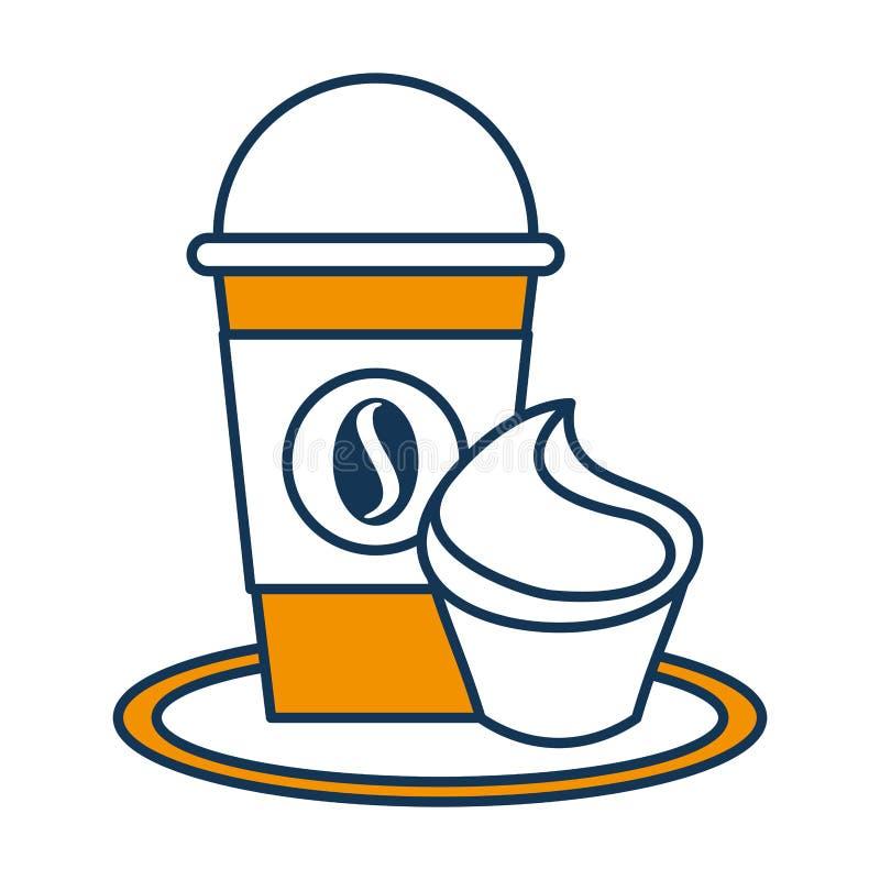 Heerlijke koffie met cupcake royalty-vrije illustratie