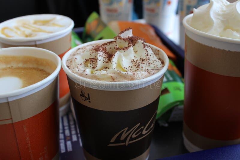 Heerlijke koffiedranken in Mcdonald royalty-vrije stock fotografie