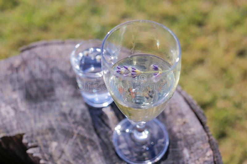 Heerlijke lavendelchampagne en een klein glas water op een oude boomboomstam royalty-vrije stock afbeelding