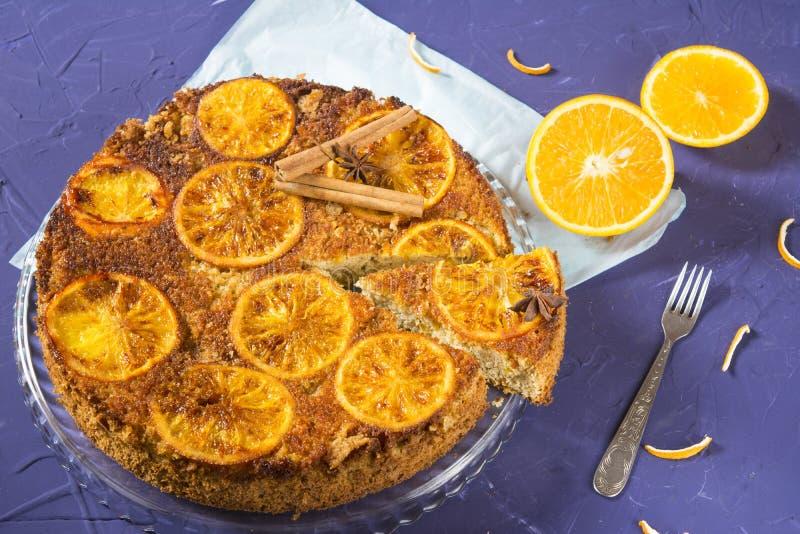 Heerlijke oranje pastei stock afbeeldingen