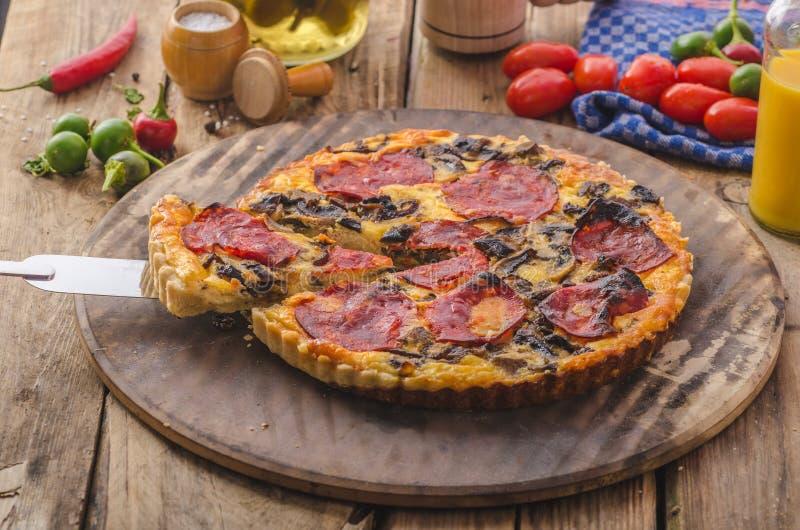 Heerlijke quiche met chorizo, noten en scherpe kaas stock foto's