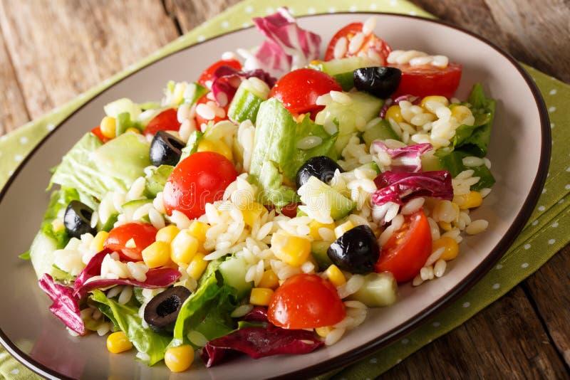 Heerlijke salade van verse tomaten, komkommers, graan, rijst, olijven royalty-vrije stock foto's