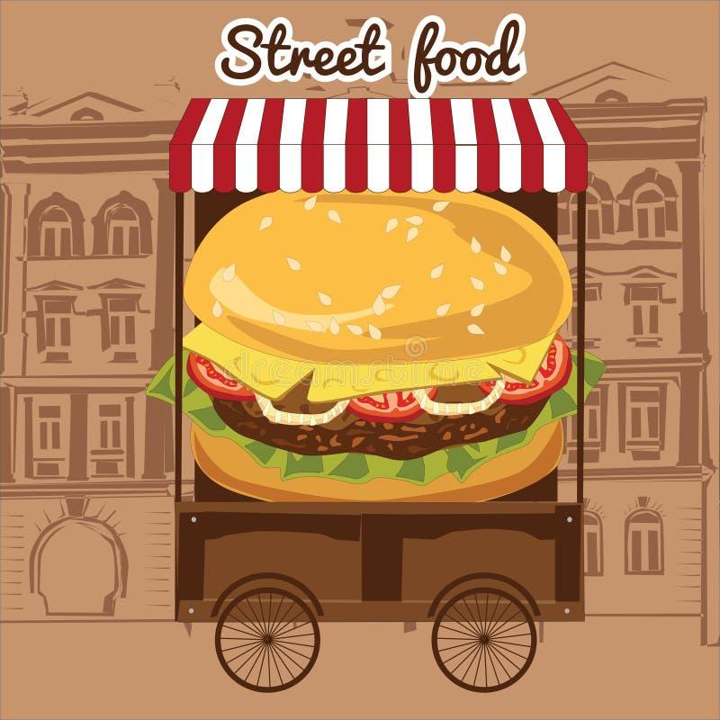 Heerlijke sappige hamburger met ingrediënten een reeks van salade, tomaten, kaas, uien, koteletten, saus, in een straatkar royalty-vrije illustratie