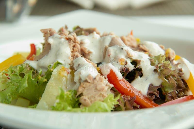 Heerlijke tonijnsalade en saus op plaat stock afbeelding