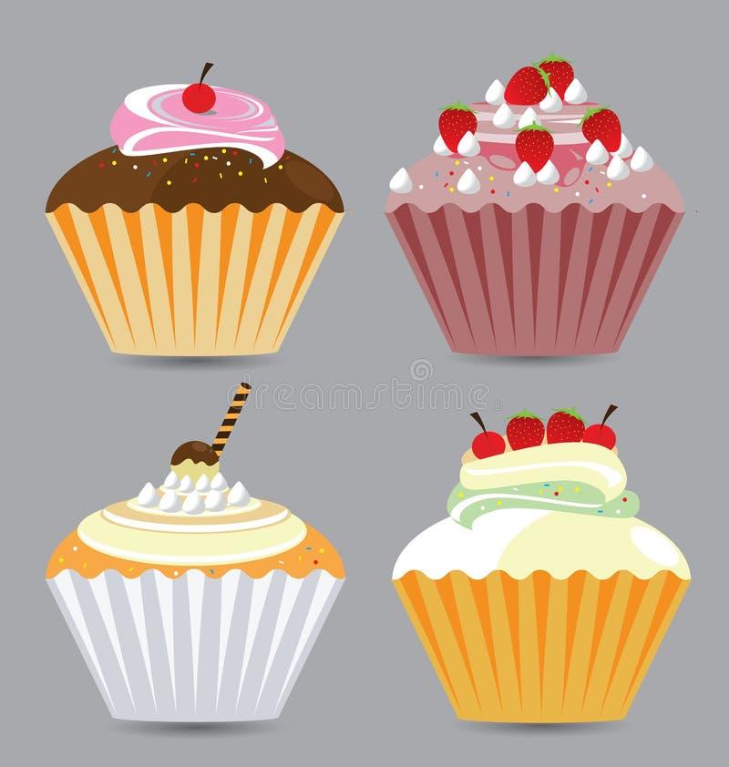 Heerlijke Vectorcupcakes vector illustratie