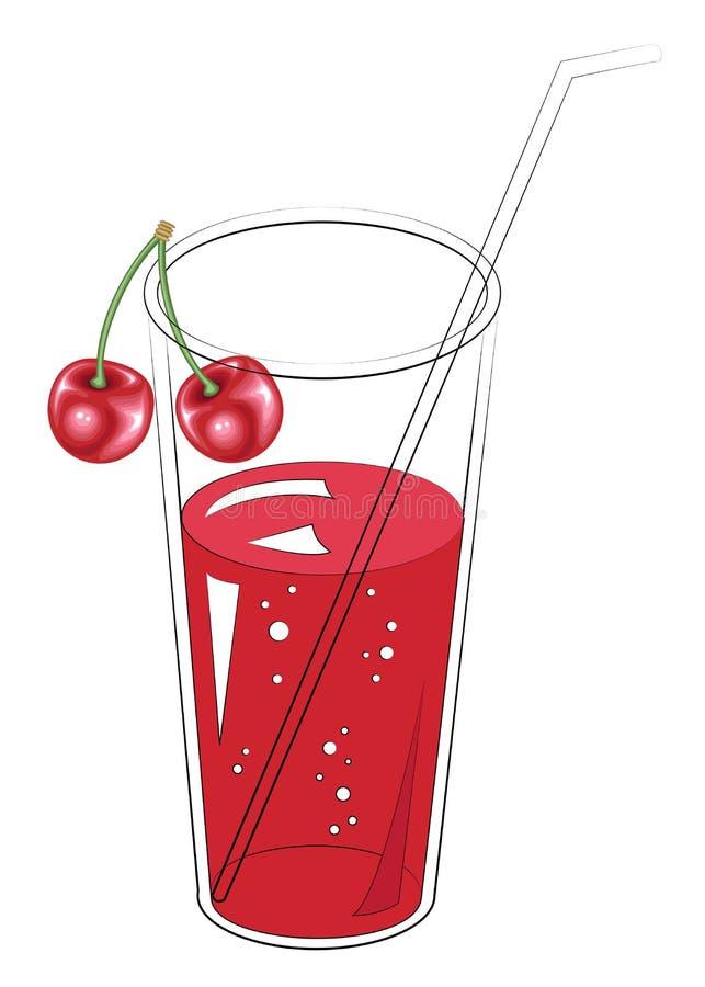 Heerlijke verfrissende gezonde drank Een glas natuurlijk vruchtensap Het ontwerp van de kersenbes Vector illustratie royalty-vrije illustratie