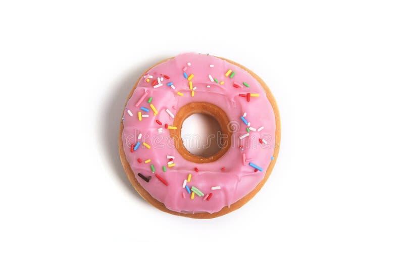 Heerlijke verleidende doughnut met concept van de de suiker zoete verslaving van de bovenste laagjes het ongezonde voeding royalty-vrije stock foto