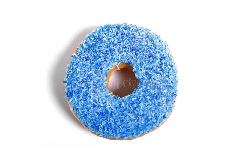 Heerlijke verleidende doughnut met het blauwe concept van de de suiker zoete verslaving van de bovenste laagjes ongezonde voeding royalty-vrije stock foto's