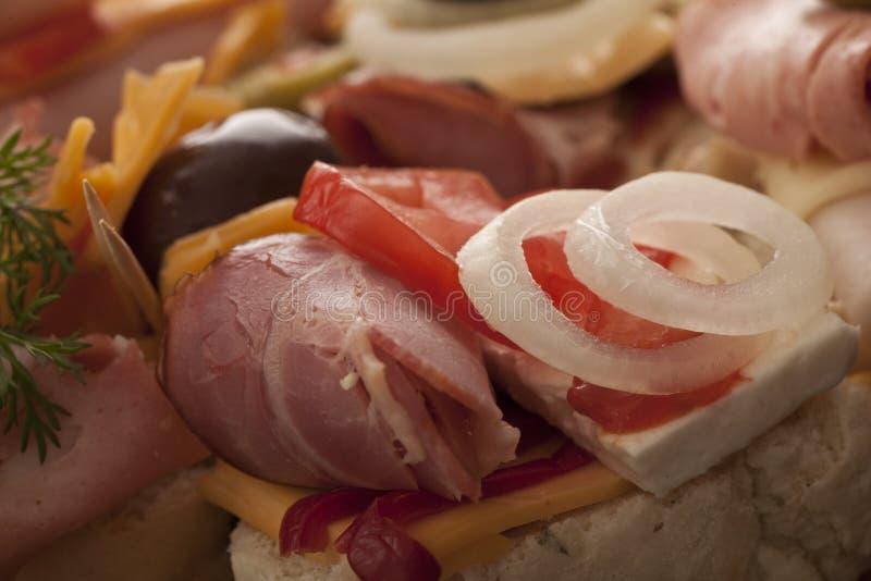 Heerlijke verse hamvoorgerechten stock foto's