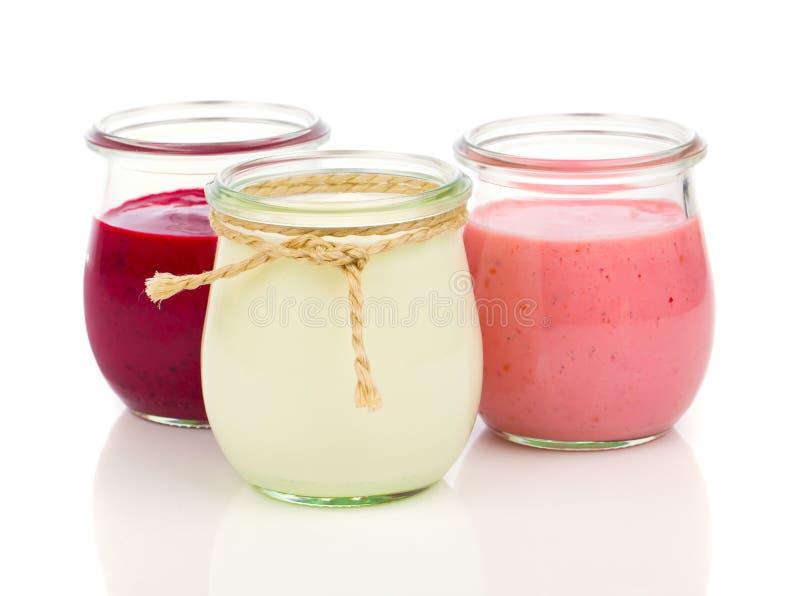 Heerlijke, voedzame en gezonde yoghurt stock afbeelding