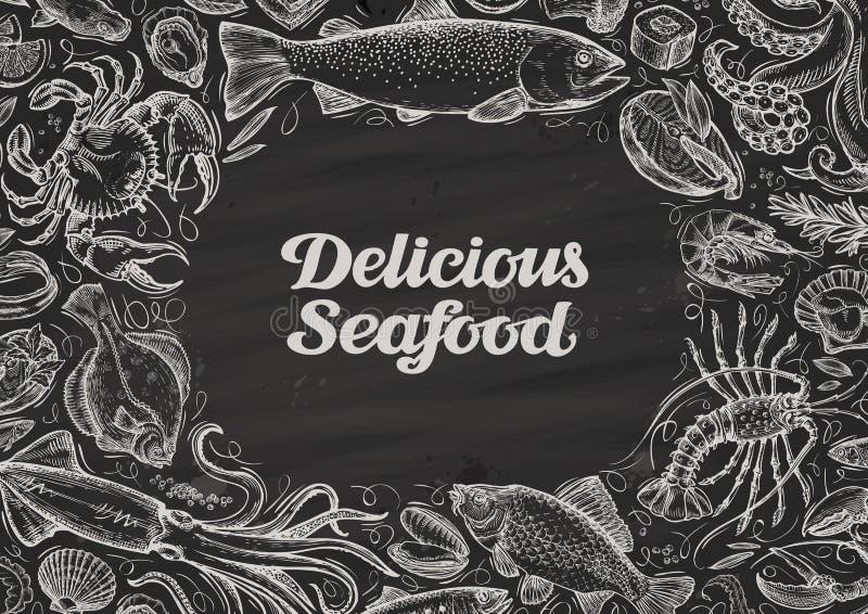 Heerlijke zeevruchten hand getrokken voedsel op bord het menurestaurant van het malplaatjeontwerp, koffie royalty-vrije illustratie