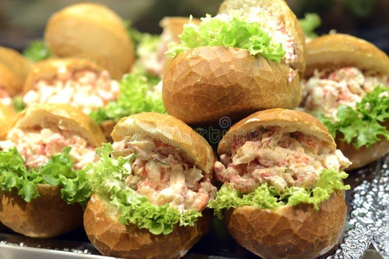 Heerlijke zeevruchtenbroodjes royalty-vrije stock afbeelding