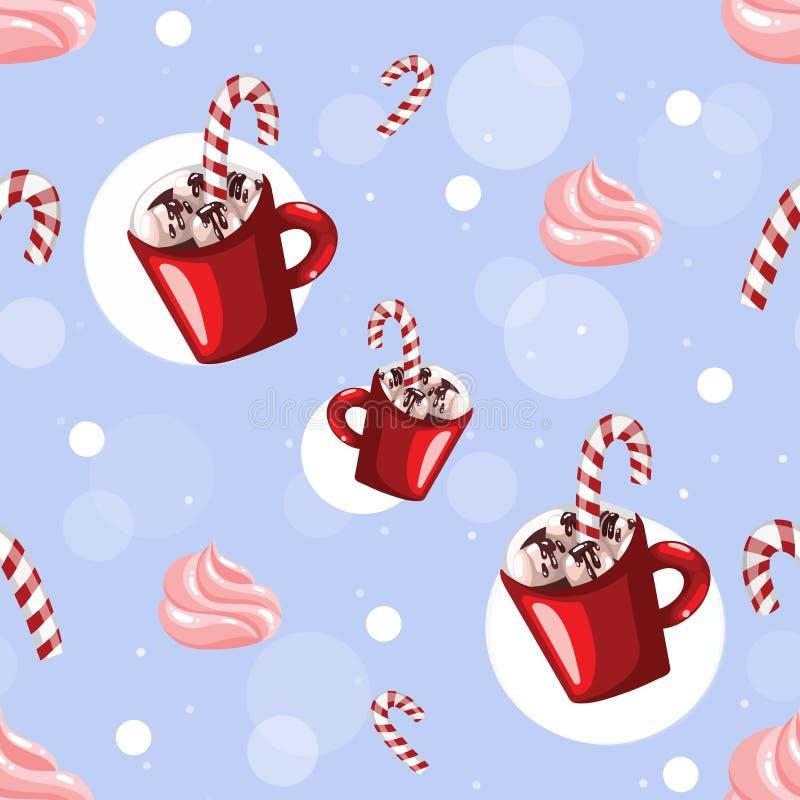 Heet chocolade naadloos patroon De hete achtergrond van drankenkerstmis met rode kop van koffieheemst en karamelriet stock illustratie