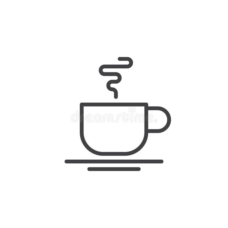 Heet de lijnpictogram van de koffiekop, overzichts vectorteken, lineair die stijlpictogram op wit wordt geïsoleerd royalty-vrije illustratie