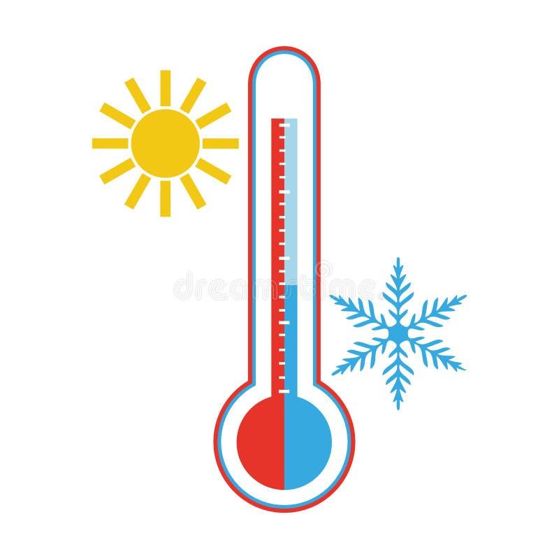Heet en Koud Weer Thermometerpictogram op witte achtergrond stock illustratie