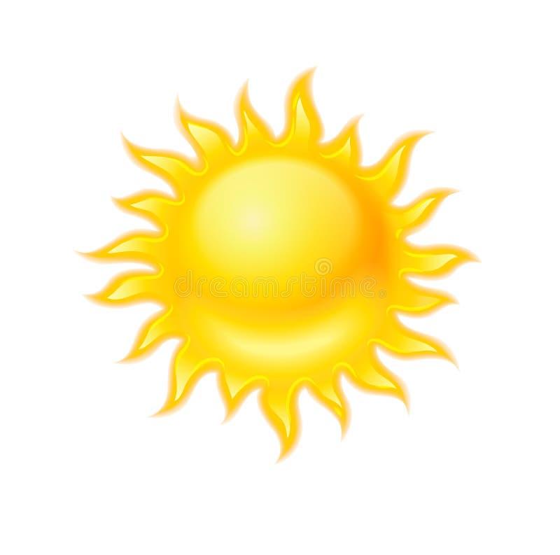 Heet geel geïsoleerd zonpictogram royalty-vrije illustratie