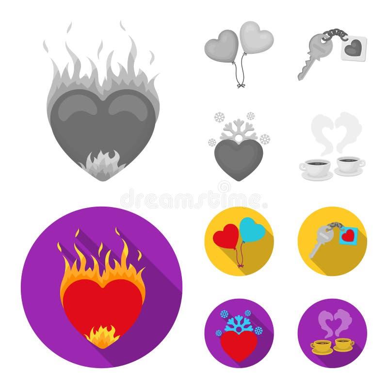 Heet hart, ballons, een sleutel met een charme, een koud hart Romantische vastgestelde inzamelingspictogrammen in zwart-wit, vlak vector illustratie