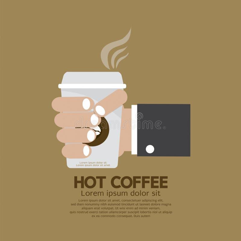 Heet Koffie In Hand Vlak Ontwerp stock illustratie