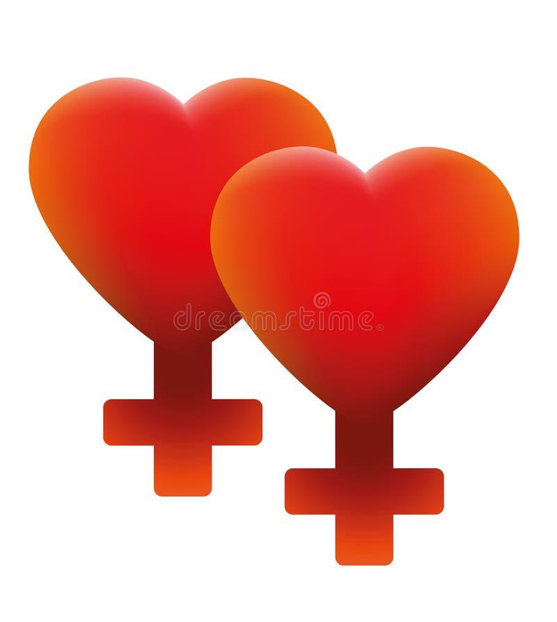 Heet Lesbisch Liefdesymbool Twee Harten vector illustratie