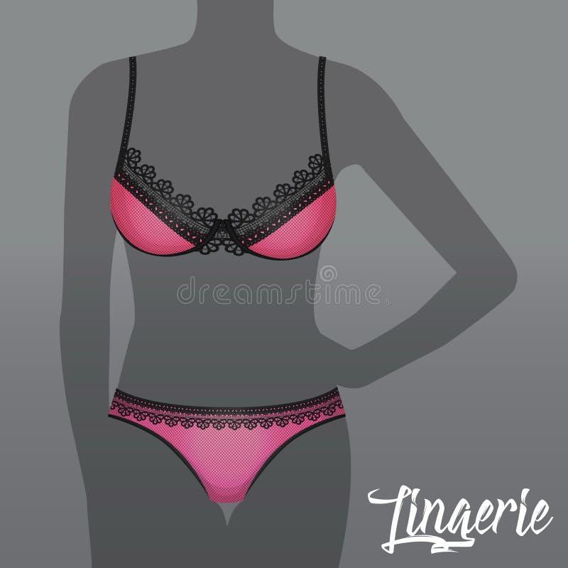 Heet sexy lingerieondergoed reclamemalplaatje royalty-vrije illustratie