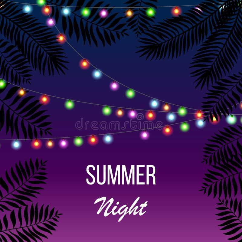 Heet van de de partijuitnodiging van de de zomernacht de vliegermalplaatje vector illustratie