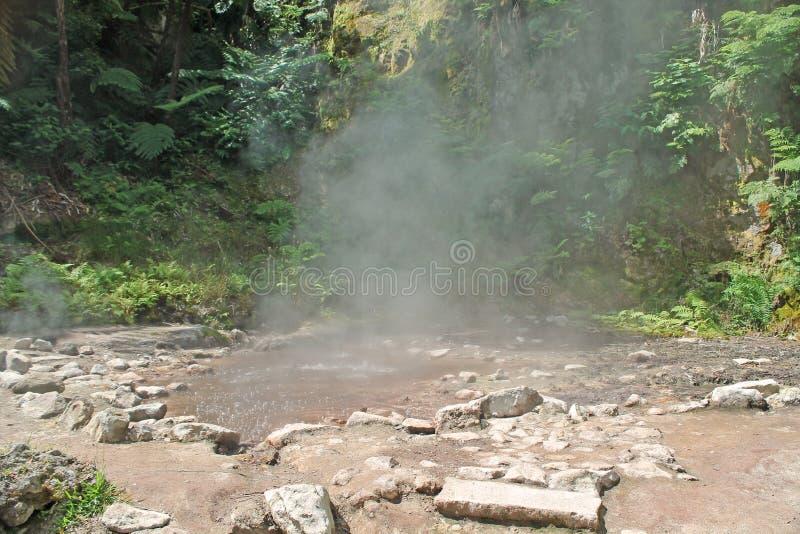 Heet vochtig kokend zwavelachtig water stock foto