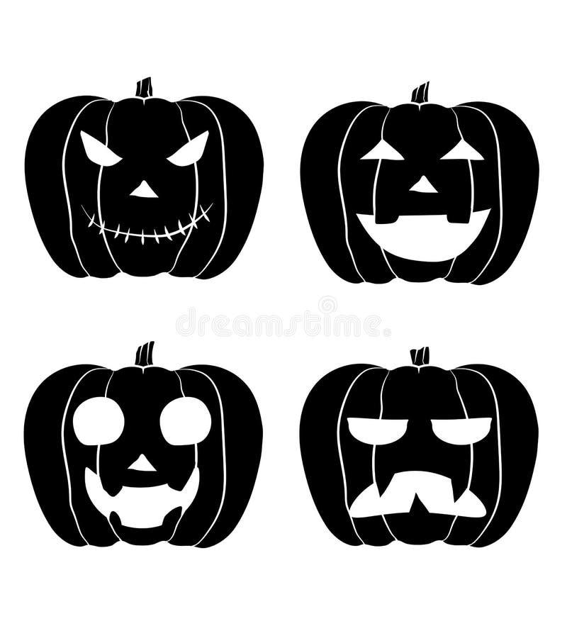 Hefboom-o-LANTAARN reeks zwart-witte Halloween-pompoenen royalty-vrije illustratie