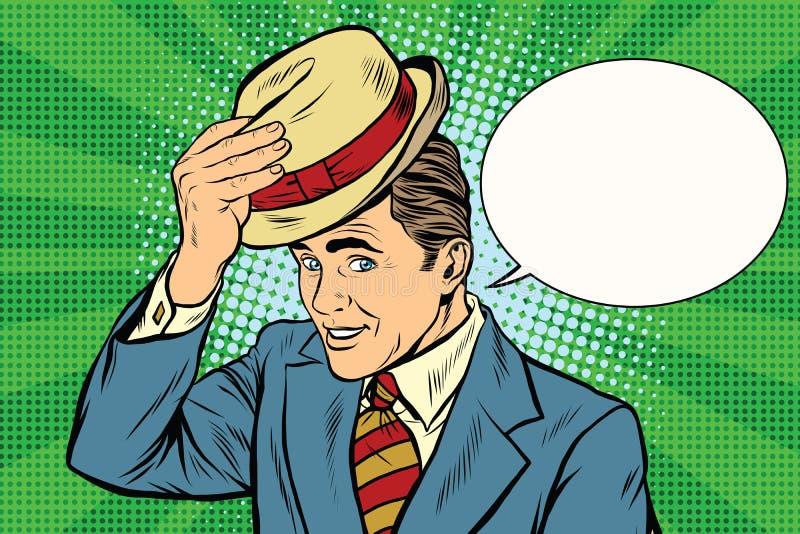 Heft de beleefde heer van Hello zijn hoed op stock illustratie