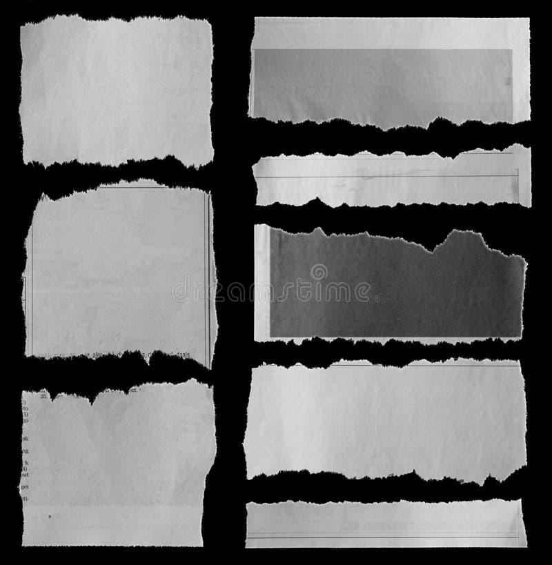 Heftige Papiere auf Schwarzem stockbilder