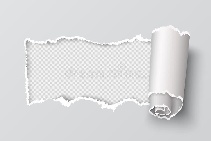 Heftige Papierkante Realistisches transparentes Titelloch, Seite zerriss Schmutzbeschaffenheit, zerstörtes Pappelement Vektorriss stock abbildung