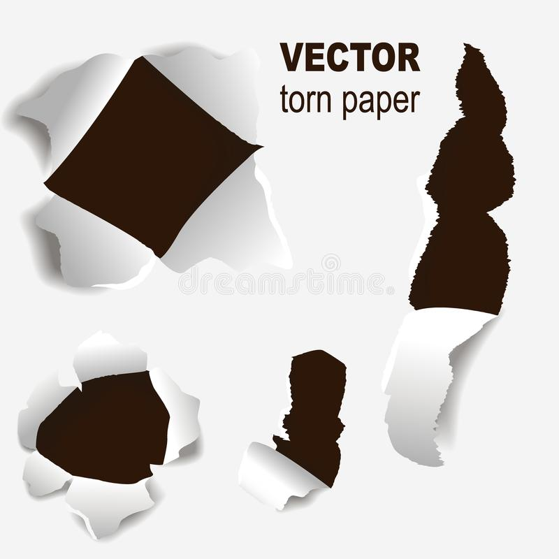 Heftige Ränder tapezieren Vektorillustrationskonzept-Schmutzseite der Art 3d des Randes und des Sprunges des Lochs zerfleischte z stock abbildung