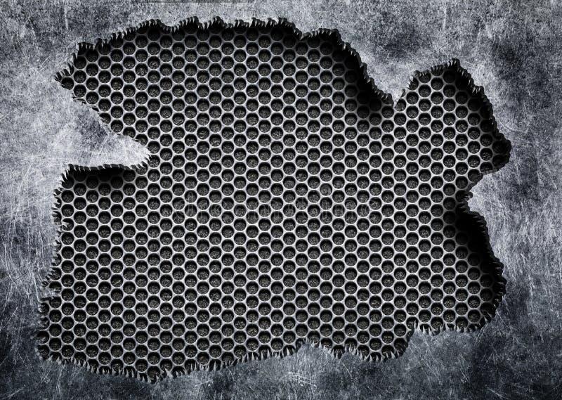Heftiger Stahl mit einem grauen Maschenhintergrund beschädigte Metall vektor abbildung