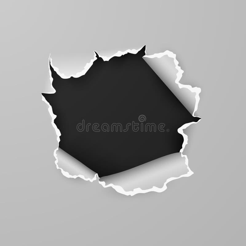 Heftiges Loch im Blatt Papier mit schwarzem Hintergrund mit Raum f?r Text Auch im corel abgehobenen Betrag vektor abbildung