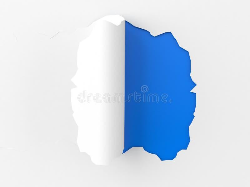 Heftiges Papier auf blauem Hintergrund stock abbildung