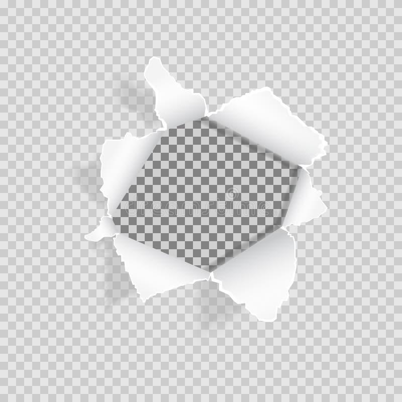Heftiges Papier auf transparentem Hintergrund Realistisches zerrissenes Loch im Blatt Papier Papier mit zerrissenen Rändern und R lizenzfreie abbildung