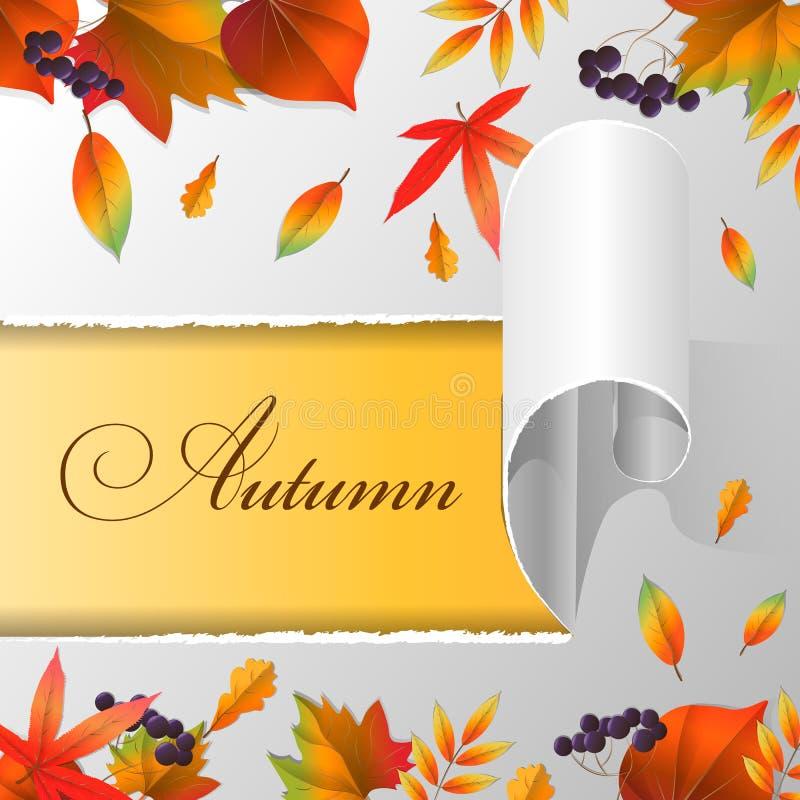 Heftiges Papier, Herbstlaub und Text Herbst lizenzfreie abbildung