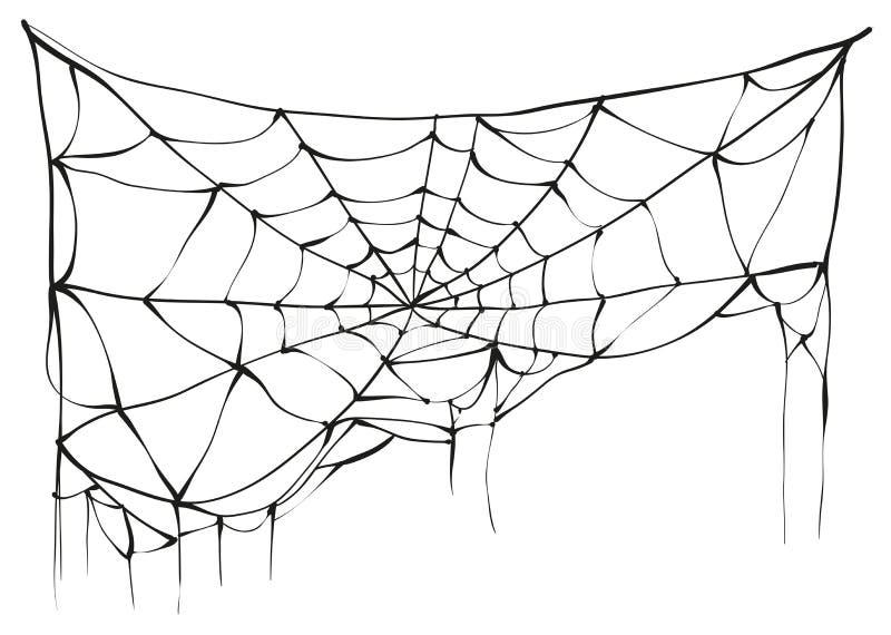Heftiges Spinnennetz auf weißem Hintergrund lizenzfreie abbildung